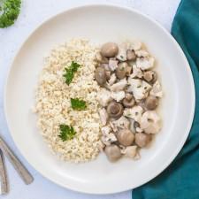 Poulet sauce aux champignons et son goulghour